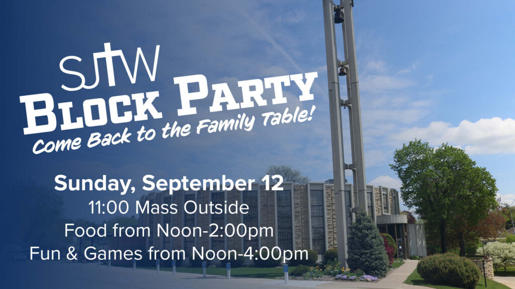 A social media graphic created to promote SJTW's Block Party event.
